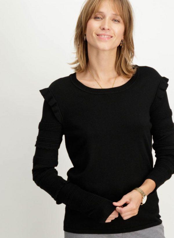 Camisola preta com folho na manga para mulher da Garcia Jeans