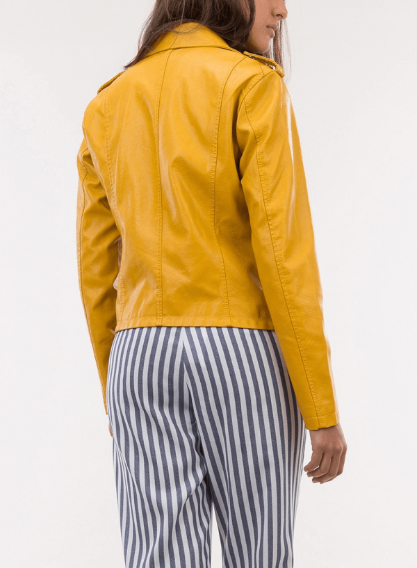 Costas do blusão ecopel traçado amarelo para mulher da Tiffosi