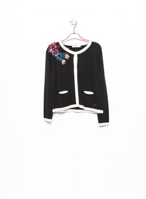 Frente de casaco de malha com flor bordada para mulher da Van-Dos