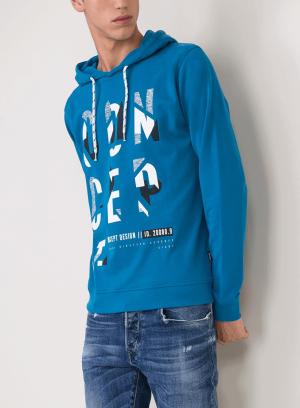 Hoodie azul forte com texto estampado para homem da Tiffosi