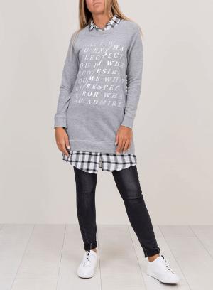 Camisolão gola de camiseiro xadrez para mulher da Tiffosi