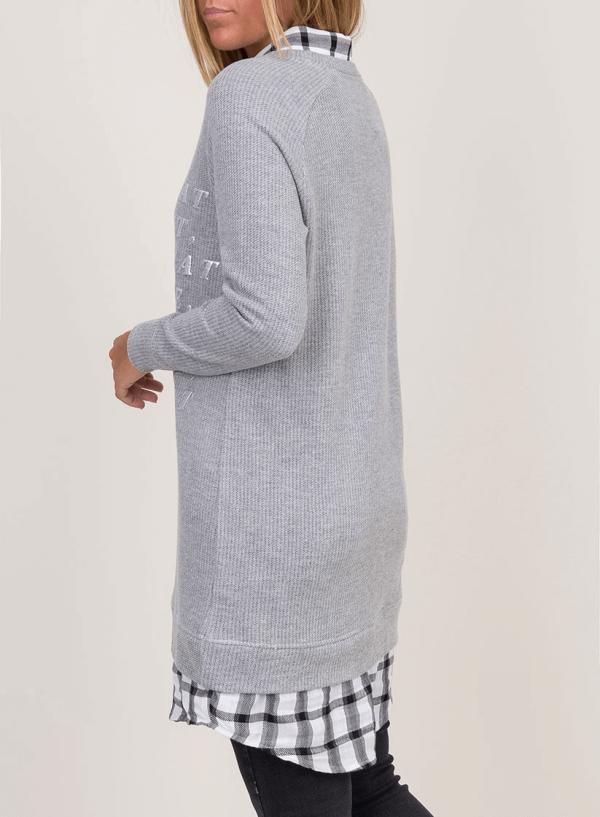 Costas da camisolão gola de camiseiro xadrez para mulher da Tiffosi