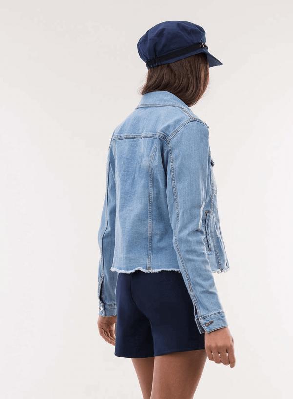 Costas do blusão de ganga com rotos para mulher da Tiffosi