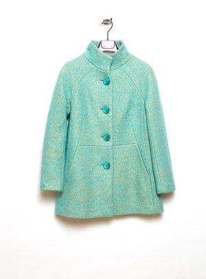 Frente de casaco com manga reglan em mescla de azul claro da Van-Dos