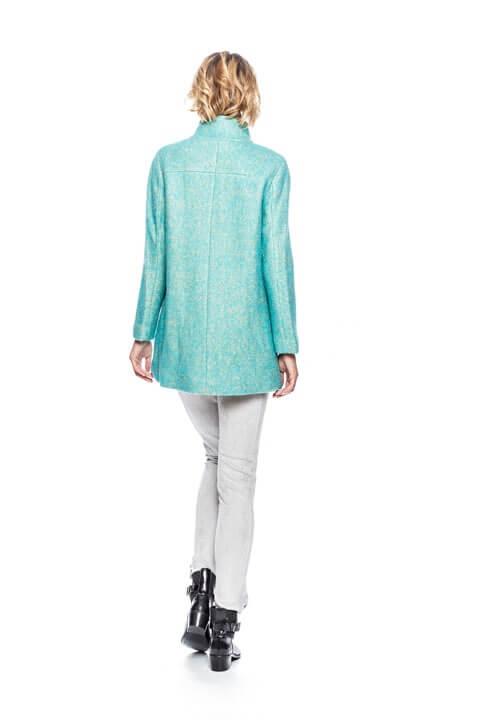 Costas de casaco com manga reglan em mescla de azul claro da Van-Dos