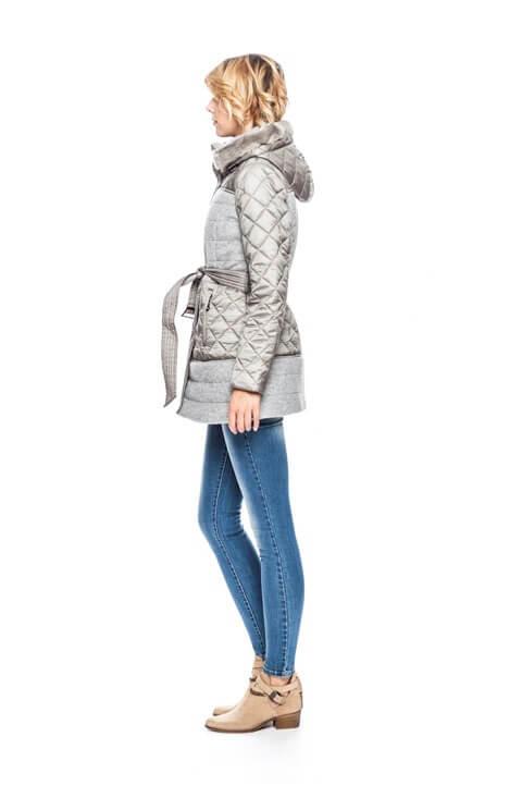 Lateral da casaco 3/4 com capuz pelo removível em cinza para mulher da Van-Dos