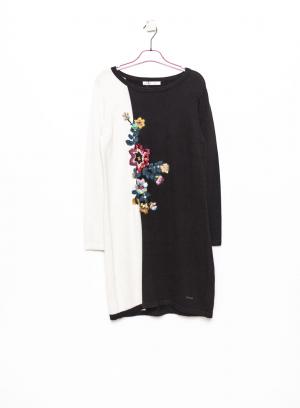 Frente de vestido de malha bicolor flor bordada em preto e branco da Van-Dos