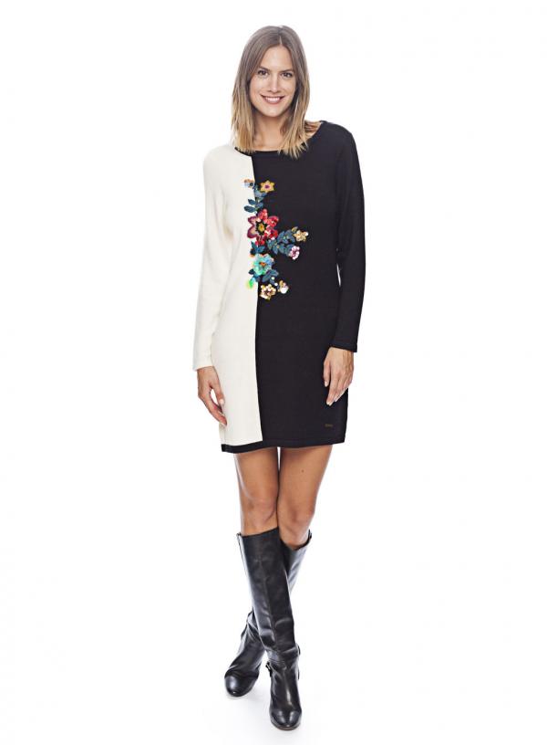 Vestido de malha bicolor flor bordada em preto e branco da Van-Dos