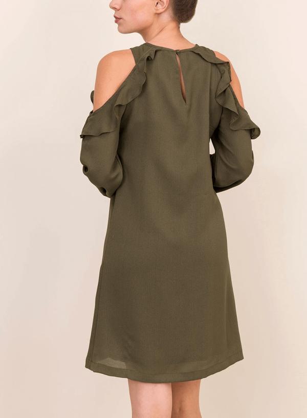 Costas de vestido ombro descoberto em verde da Tiffosi