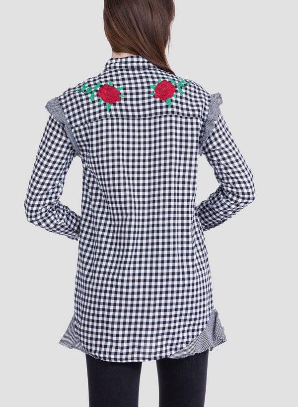Parte de trás da camisa xadrez bordado floral para mulher da Tiffosi