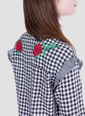 Costas da camisa xadrez bordado floral para mulher da Tiffosi