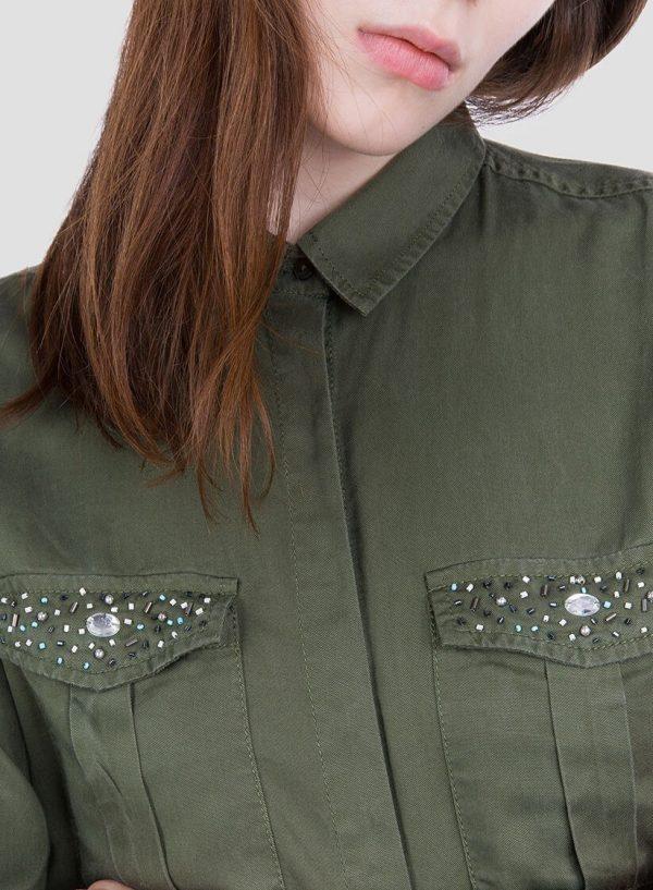 Lateral na camisa bolsos com aplicações para mulher da Tiffosi