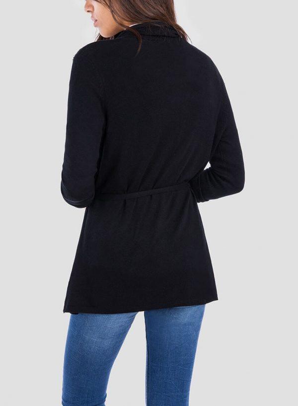 Costas de cardigan preto com pérolas e cinto para mulher da Tiffosi
