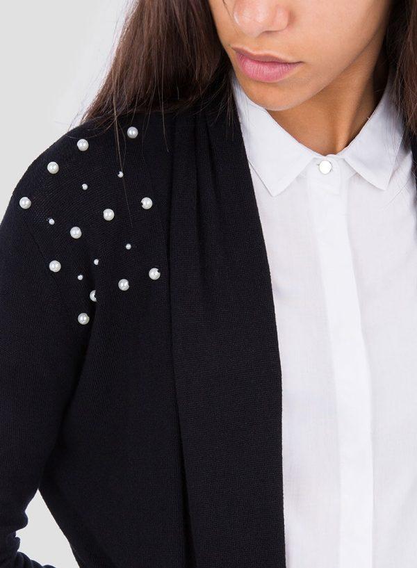 Lateral de cardigan preto com pérolas e cinto para mulher da Tiffosi