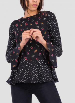 Frente da blusa combinada com folhos da Tiffosi