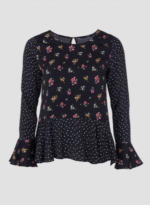 Blusa combinada com folhos da Tiffosi