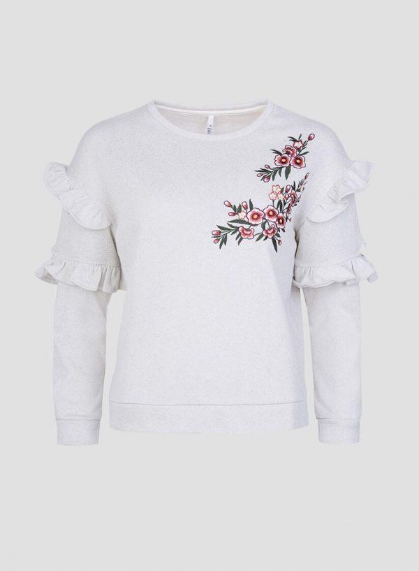Sweatshirt bordado floral folhos para mulher da Tiffosi