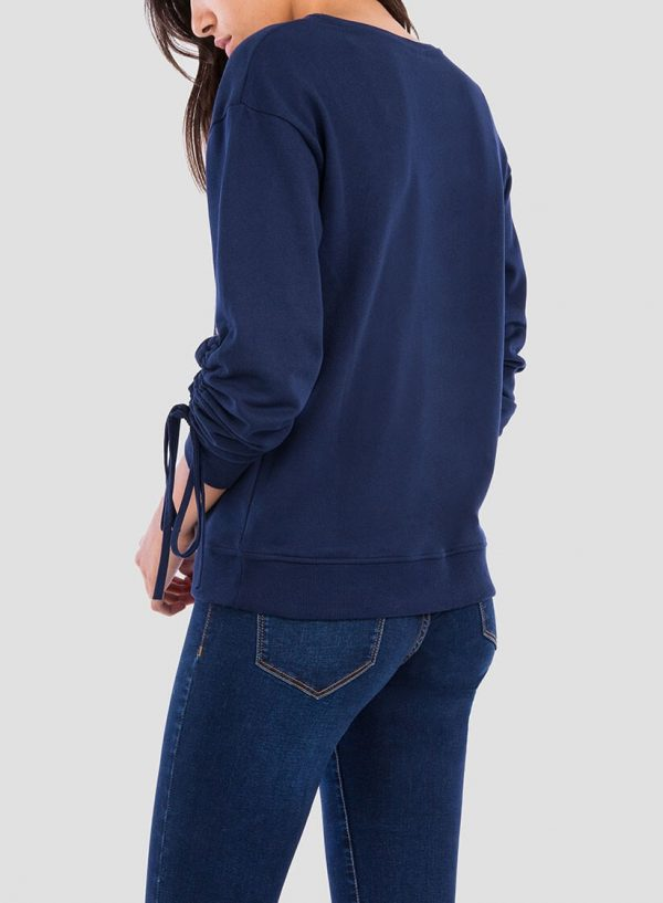 Costas da sweatshirt bordado floral pormenor mangas para mulher da Tiffosi