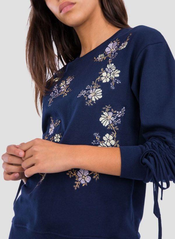 Lateral da sweatshirt bordado floral pormenor mangas para mulher da Tiffosi