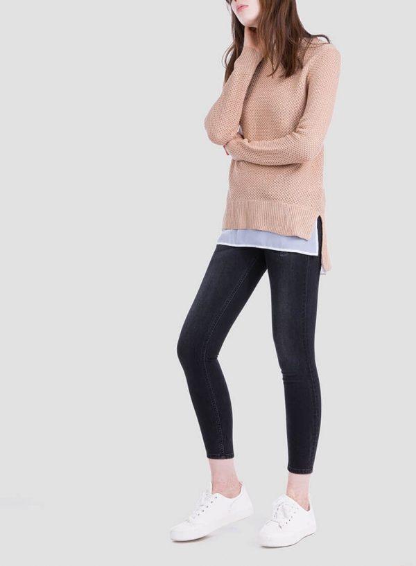 Frente da camisola bege combinada textura para mulher da Tiffosi