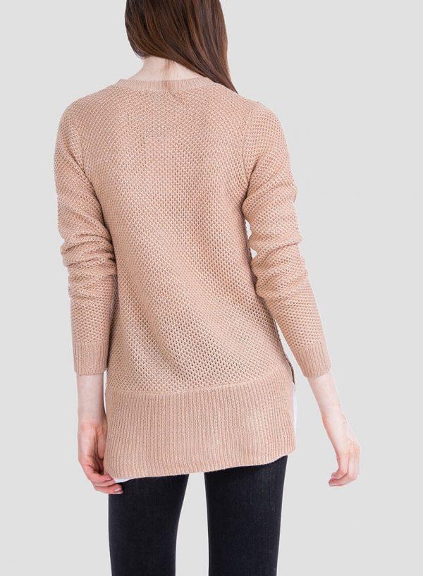 Costas da camisola bege combinada textura para mulher da Tiffosi