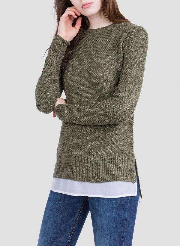 Frente da camisola verde combinada textura para mulher da Tiffosi