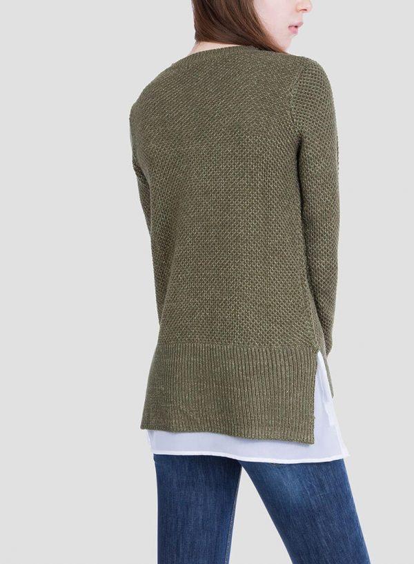 Costas da camisola verde combinada textura para mulher da Tiffosi