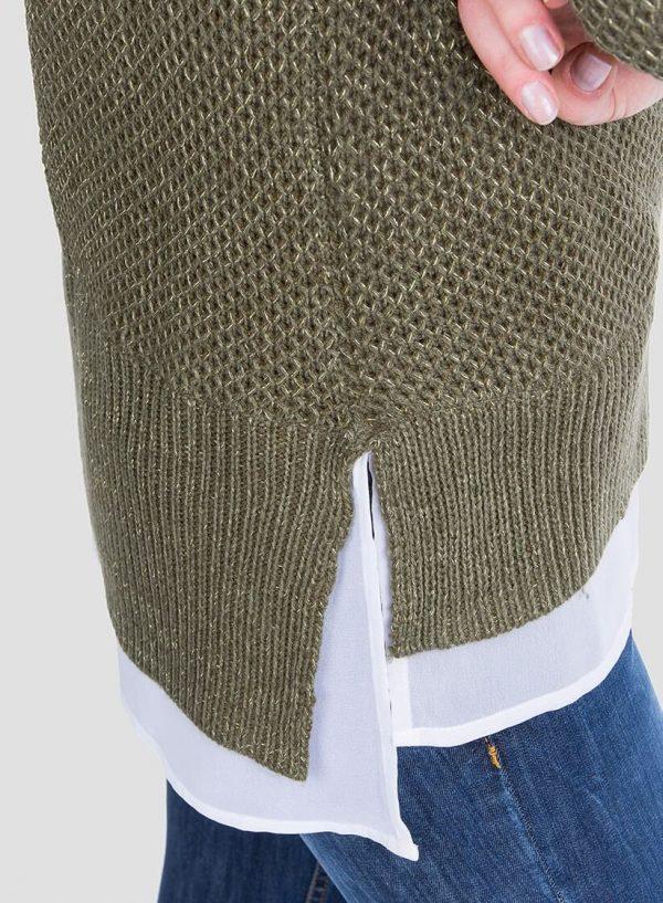 Lateral da camisola verde combinada textura para mulher da Tiffosi