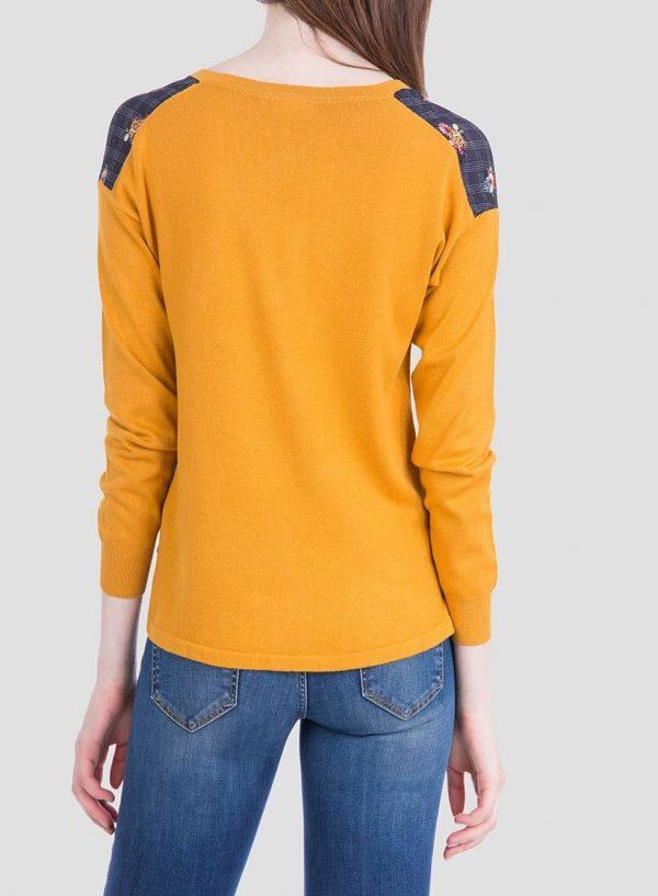 Costas da camisola amarelo de malha combinada com tecido para mulher da Tiffosi