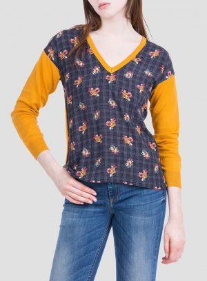 Frente da camisola amarelo de malha combinada com tecido para mulher da Tiffosi