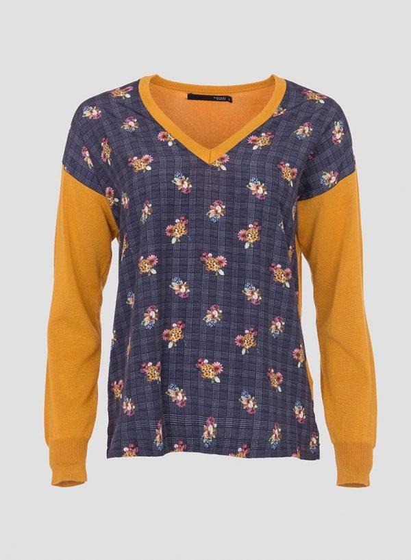 Camisola amarelo de malha combinada com tecido para mulher da Tiffosi