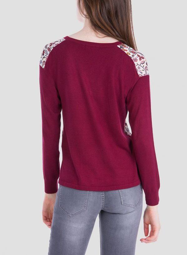 Costas camisola bordô de malha combinada com tecido para mulher da Tiffosi