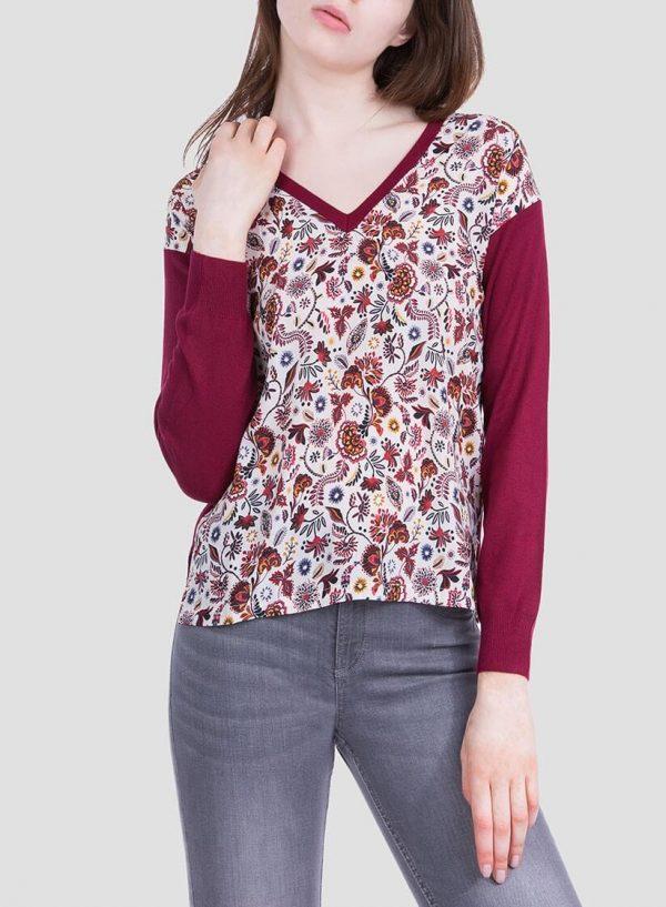 Frente da camisola bordô de malha combinada com tecido para mulher da Tiffosi