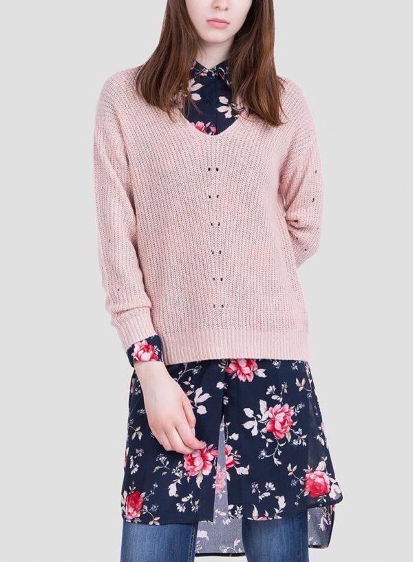 Frente ampliada da camisola rosa com brilho decote em V da Tiffosi