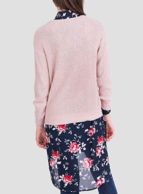 Costas da camisola rosa com brilho decote em V da Tiffosi