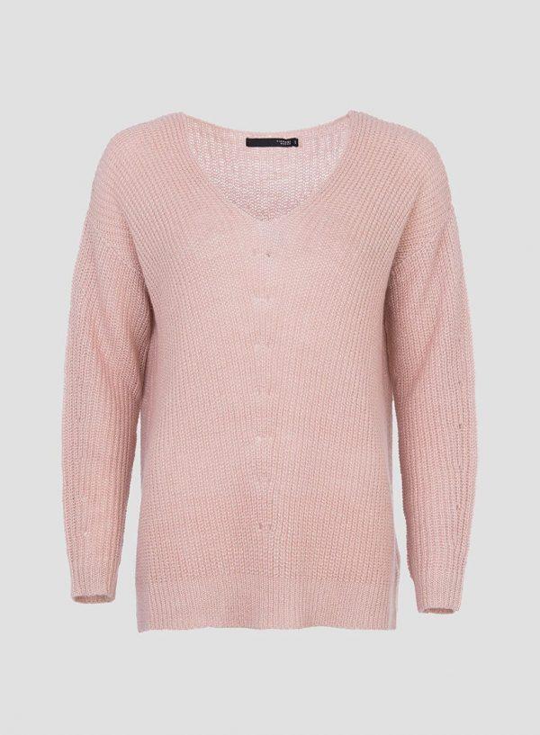 Camisola rosa com brilho decote em V da Tiffosi