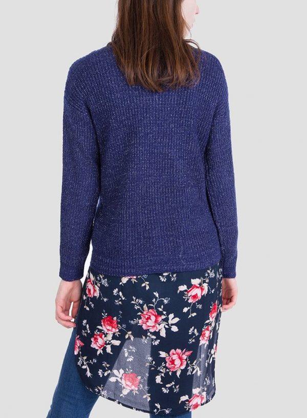 Costas da camisola azul com brilho decote em V da Tiffosi