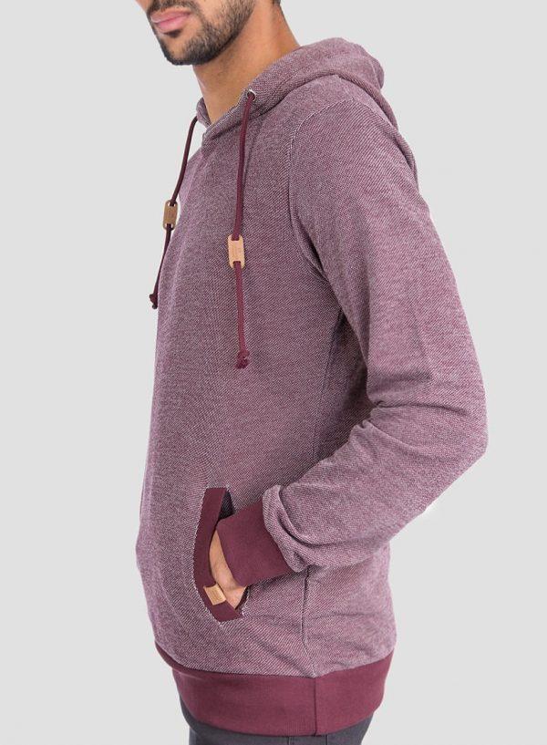 Lateral de hoodie pormenor cordões em bordô para homem da Tiffosi