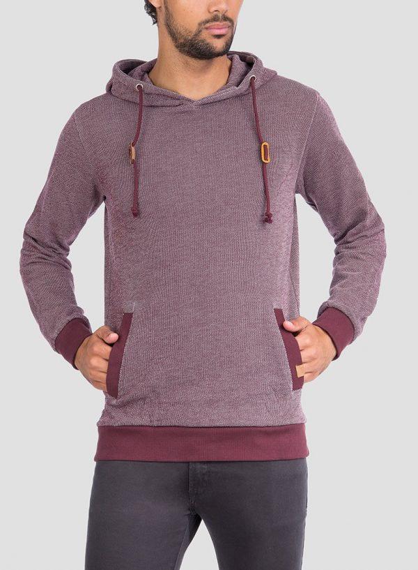 Frente de hoodie pormenor cordões em bordô para homem da Tiffosi