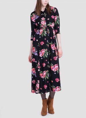Frente do vestido comprido estampado floral da Tiffosi