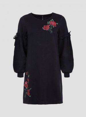 Vestido preto com bordado floral da Tiffosi