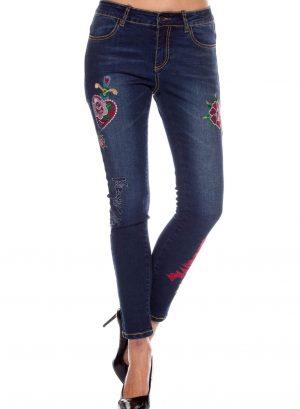 Jeans com corações bordados para mulher da Rosalita McGee