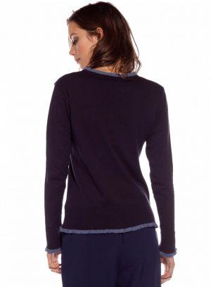 Costas da camisola da malha com pássaros bordados da Rosalita McGee