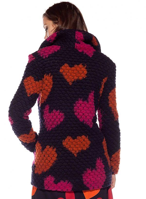 Costas do casaco traçado com corações para mulher da Rosalita McGee