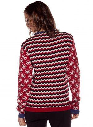 Costas do casaco de malha com mix de prints para mulher da Rosalita McGee