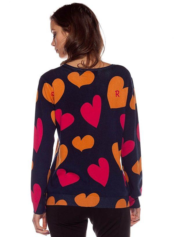 Costas do casaco de malha com corações para mulher da Rosalita McGee