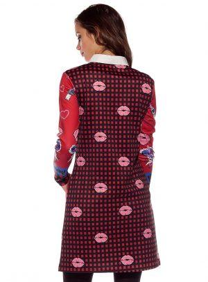 Costas do vestido curto com manga comprida da Rosalita