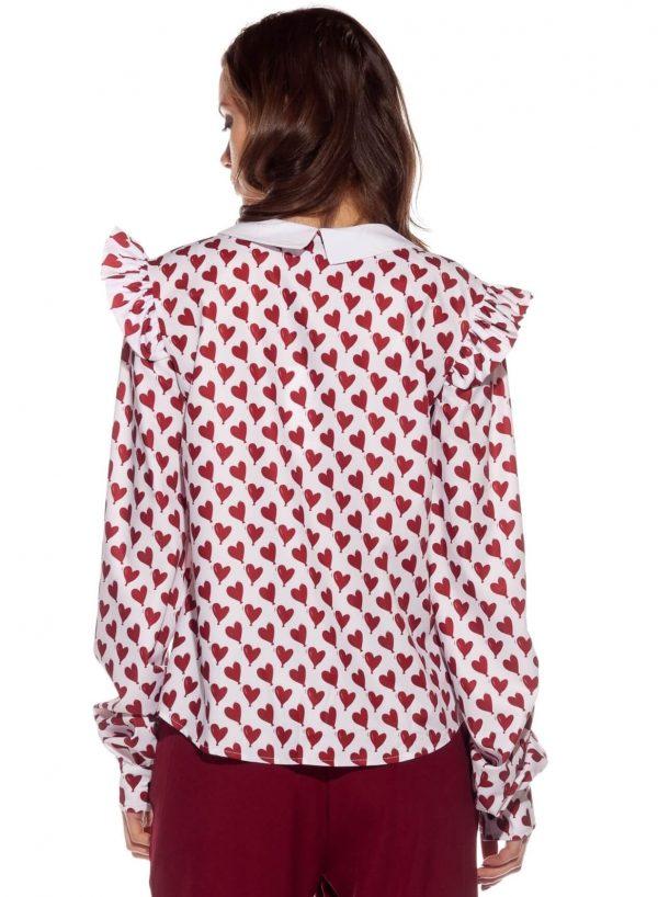 Costas da blusa com print corações para mulher da Rosalita McGee