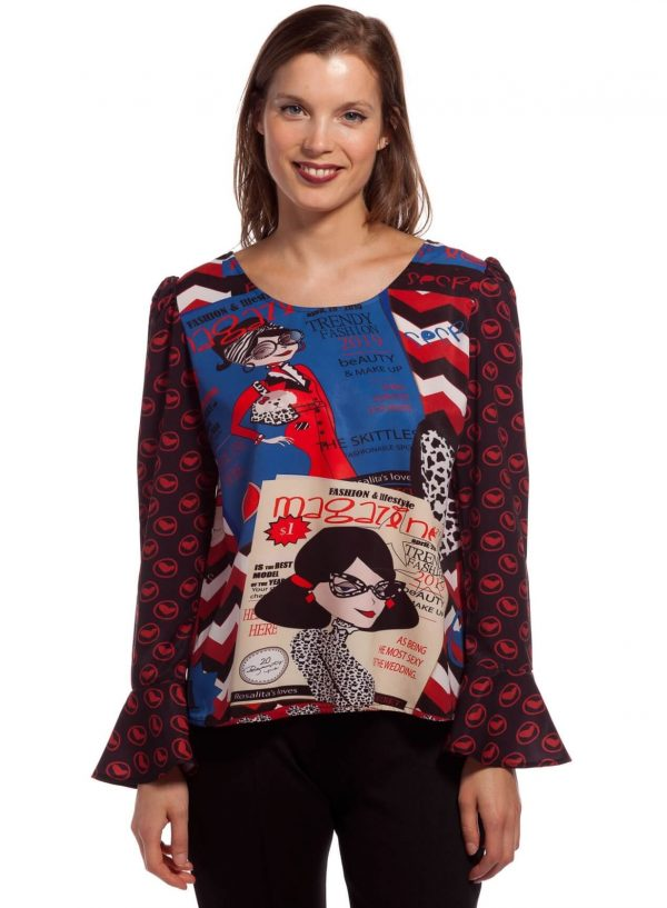 Blusa com mix de estampados para mulher da Rosalita McGee