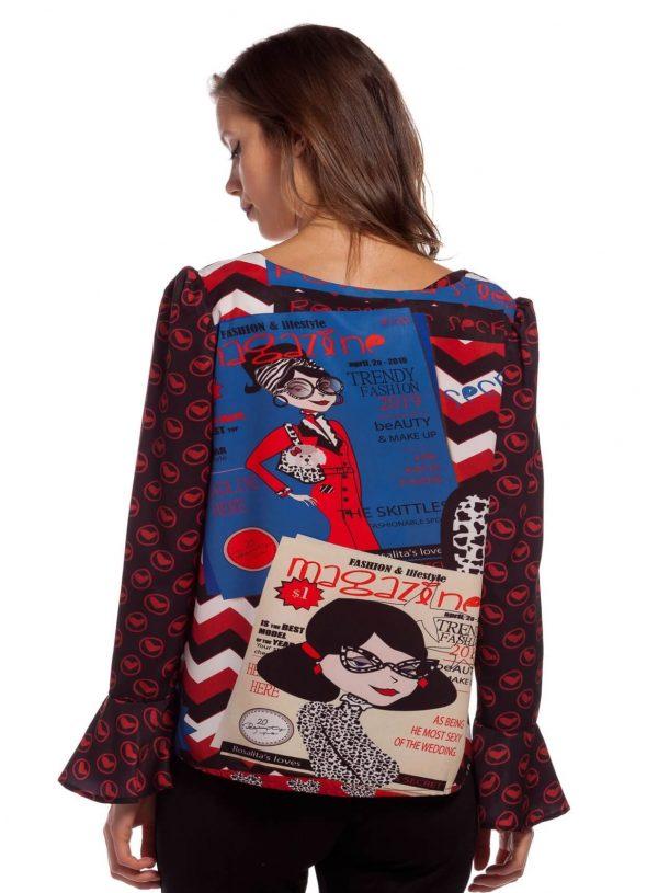 Costas da blusa com mix de estampados para mulher da Rosalita McGee
